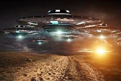 Invasión del UFO en la representación del landascape 3D de la tierra del planeta Imagenes de archivo