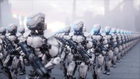 Invasie van militaire robots Dramatisch apocalyps super realistisch concept toekomst het 3d teruggeven royalty-vrije illustratie