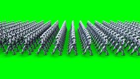 Invasie van militaire robots met kanon Marcherende robots Groene het scherm4k lengte