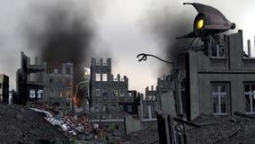 Invasion étrangère de vintage : Attaque de la couleur de trépieds de guerre banque de vidéos