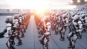 Invasion av militära robotar Toppet realistiskt begrepp för dramatisk apokalyps framtid animering 4K vektor illustrationer