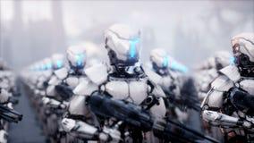 Invasion av militära robotar Toppet realistiskt begrepp för dramatisk apokalyps framtid animering 4K royaltyfri illustrationer