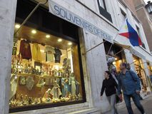 Souvenirs shops in historical center of Rome royalty free stock photo