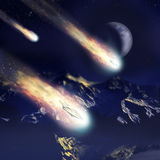 Invasion coming from the stars. Alien spaceships, looking like meteors, falling on Earth at the foreground of high mountains and moon Stock Images