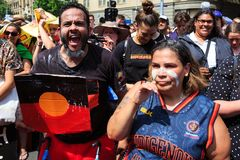 Invasion Day Australia Day Protests in Melbourne Stock Photos