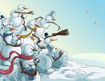 Invasion de bonhommes de neige de Noël Image libre de droits