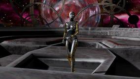 Invasion de robot par la porte de l'espace images stock