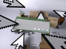 Invasion der Technologie im Haus (mit einem Fenster) Lizenzfreies Stockfoto
