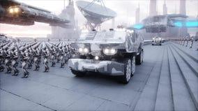 Invasion des robots militaires Concept réaliste superbe d'apocalypse dramatique future rendu 3d illustration libre de droits