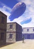 Invasion fleet. An alien invasion fleet over a village Stock Photography
