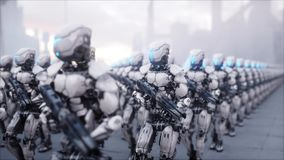 Invasion of military robots. Dramatic apocalypse super realistic concept. Future. 3d rendering. Stock Photos