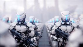 Invasion of military robots. Dramatic apocalypse super realistic concept. Future. 3d rendering. Royalty Free Stock Photo