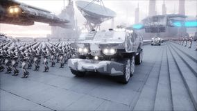 Invasion of military robots. Dramatic apocalypse super realistic concept. Future. 3d rendering. royalty free illustration