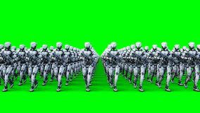 Invasion of military robots with gun. marching robots. Green screen 4k footage.