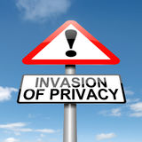 Invasion of privacy warning. Illustration depicting a roadsign with an invasion of privacy concept. Sky background Stock Image