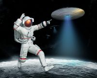 Invasion UFO on the moon. Invasion of UFO on the Moon, 3d illustration Stock Photography