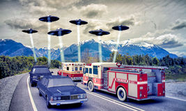 Invasione del UFO Immagine Stock