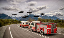 Invasione del UFO Fotografie Stock Libere da Diritti