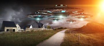 Invasione del UFO sulla rappresentazione del landascape 3D del pianeta Terra Fotografie Stock Libere da Diritti