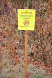 Invasive Plant Sign. A bright, yellow sign warns that knotweed, an invasive plant, is in the area Stock Images