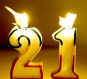 Invecchi 21 candela Immagini Stock