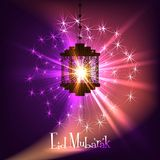 Invecklad arabisk lampa med lampor stock illustrationer