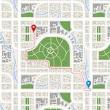 Invecklad väg mellan GPS punkter i staden Arkivfoton