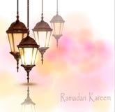 Invecklade arabiska lampor med ljus vektor illustrationer