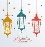 Invecklade färgrika arabiska lampor royaltyfri illustrationer