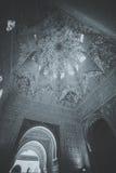 Invecklade islamiska carvings i Alhambra Palace, Granada Fotografering för Bildbyråer