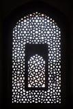 Invecklat snida av stenfönstergallret på den Humayuns gravvalvet, Delhi royaltyfri bild
