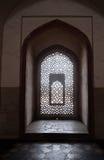 Invecklat snida av stenfönstergallret på den Humayuns gravvalvet, Delhi fotografering för bildbyråer