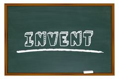 Invent Chalkboard Word Learn Invention School Education. 3d Illustration Stock Photos