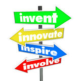 Invent Innovate Inspire Involve Road Arrow Signs. The words Invent, Innovate, Inspire, Involve on colorful road or street signs pointing you in a direction for Stock Photos