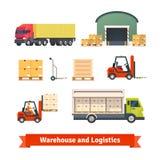 Inventaire d'entrepôt, camion de logistique Photographie stock