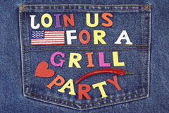 Inventation Sign For BBQ Or Grill Party On Jeans Background Stock Photos