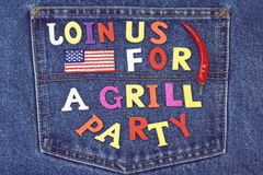 Inventation Sign For BBQ Or Grill Party On Jeans Background Royalty Free Stock Photos