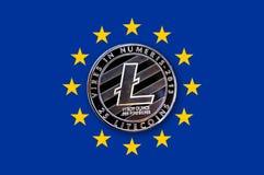 Invente o litecoin na bandeira da União Europeia Imagem de Stock Royalty Free
