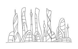 Invented city fantastic incredible and utopian skyscraper sketch high-rise buildings. Hand drawn vector stock Stock Photos