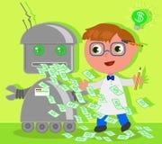 Inventeur de bande dessinée avec le robot du dollar Photo libre de droits