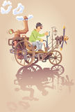 Inventeur et son véhicule de vapeur Photo libre de droits