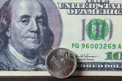Inventez un rouble sur le fond de dollars US de fond image stock