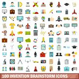100 invention brainstorm icons set, flat style. 100 invention brainstorm icons set in flat style for any design vector illustration royalty free illustration