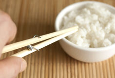 Invention of eating with chopsticks Stock Photos