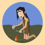 Invention of fire, cartoon illustration Stock Image