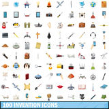 100 invention icons set, cartoon style. 100 invention icons set in cartoon style for any design vector illustration royalty free illustration