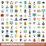 100 invention icons set, flat style. 100 invention icons set in flat style for any design vector illustration Royalty Free Stock Photo