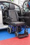 Invention to climb the car effortlessly to people who are in a wheelchair stock image