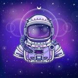 Inventions humaines : costume du ` s d'astronaute La science de profondeur Fond - le ciel d'étoile de nuit illustration stock