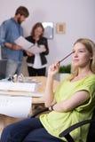 Inventive graphic designer. Picture of young female inventive graphic designer during work Stock Photo